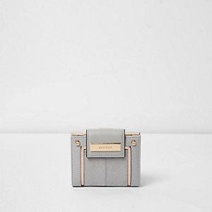 Grijze en roségoudkleurige kleine uitvouwbare portemonnee
