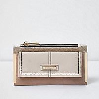 Beige front pocket foldout purse