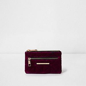 Purple mini quilted velvet zip purse