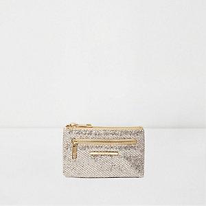 Goudkleurige kleine portemonnee met glitter