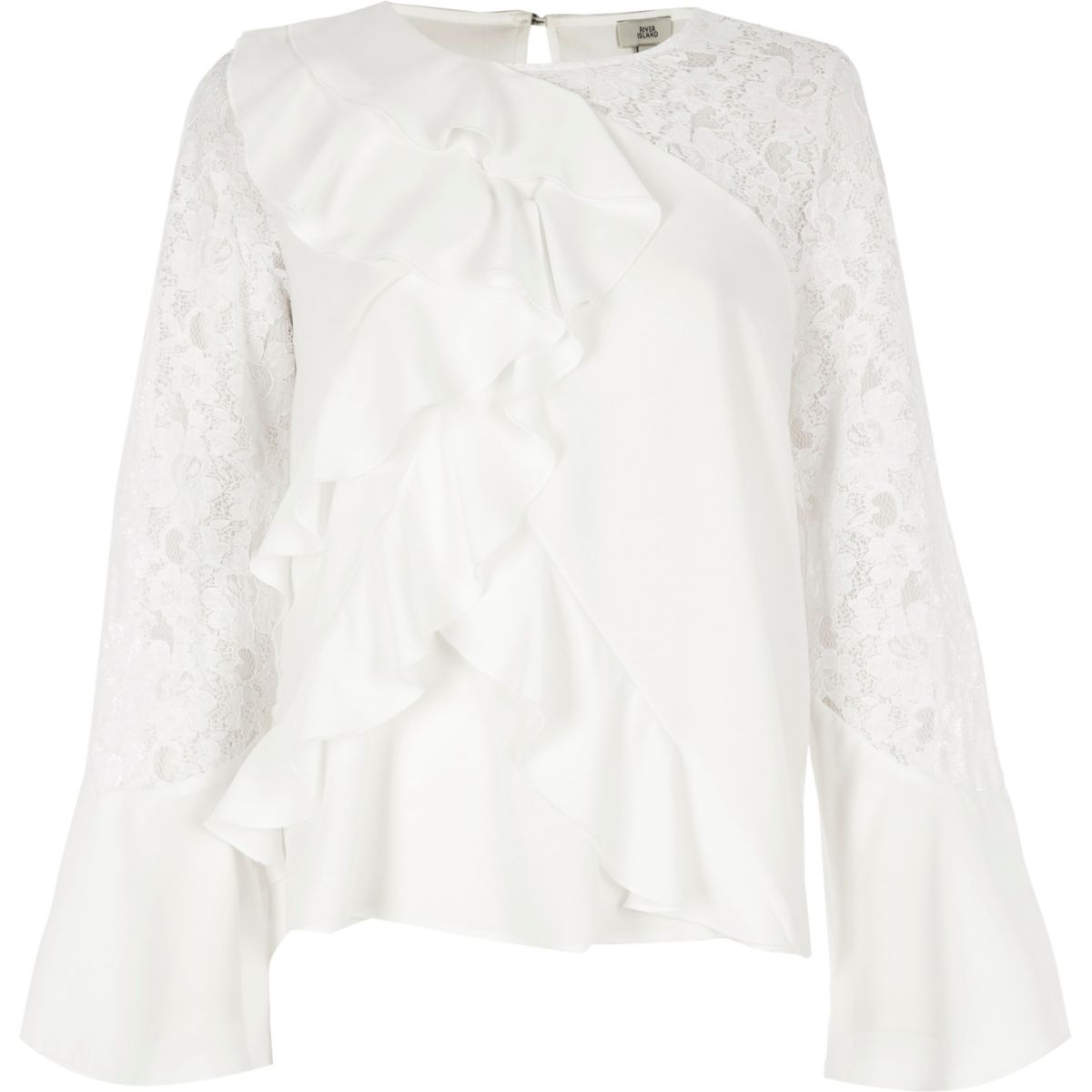 White frill front lace insert top