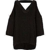 Black cold shoulder strap back top