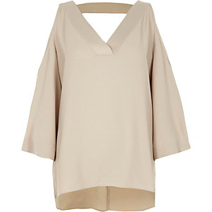Beige cold shoulder strap back top