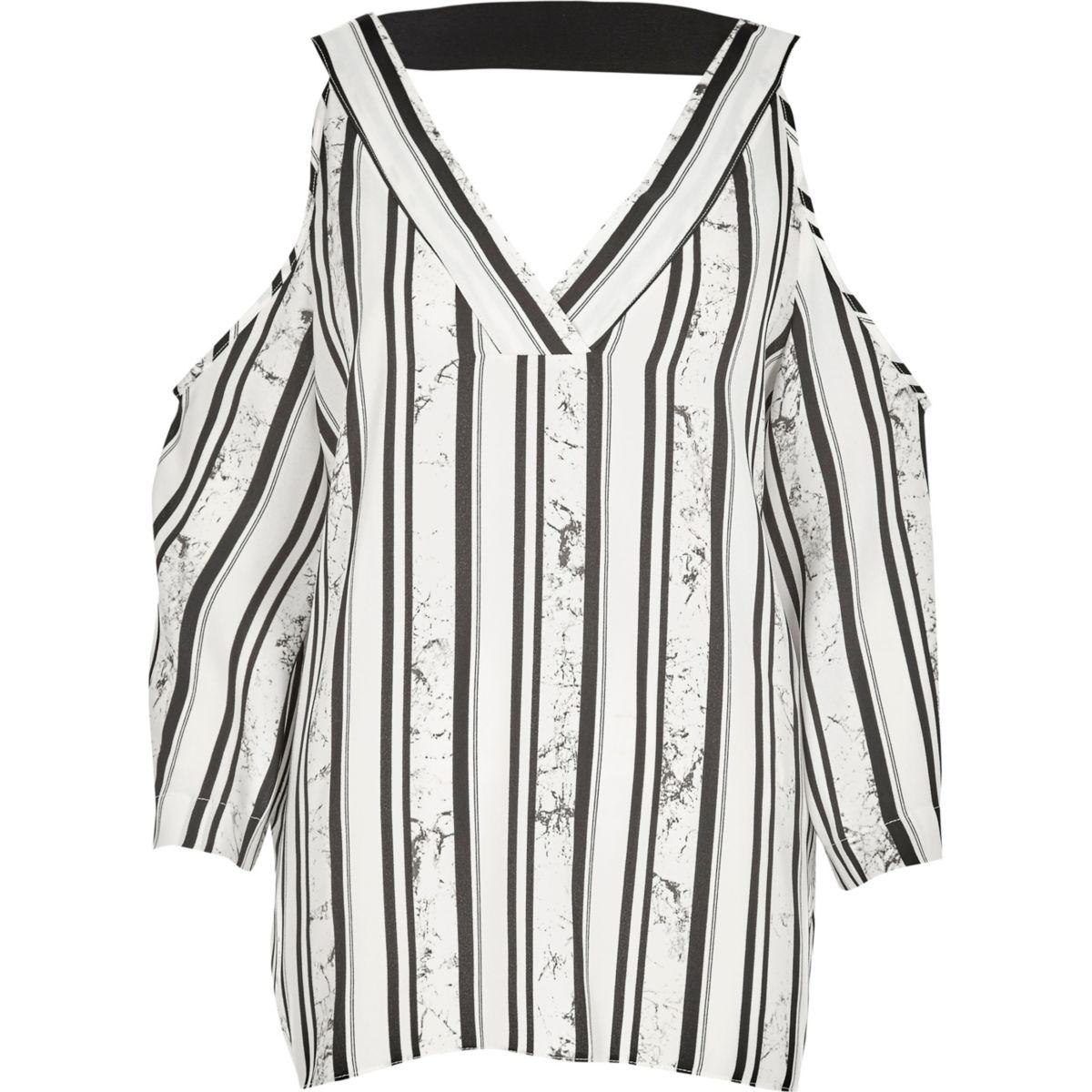 Black stripe print cold shoulder T-shirt