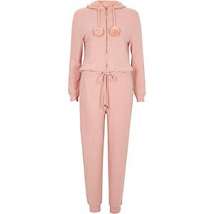 Light pink faux fur hooded lounge jumpsuit