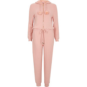 Light pink faux fur hooded lounge jumpsuit