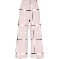 Jupe-culotte à carreaux rose ceinturée