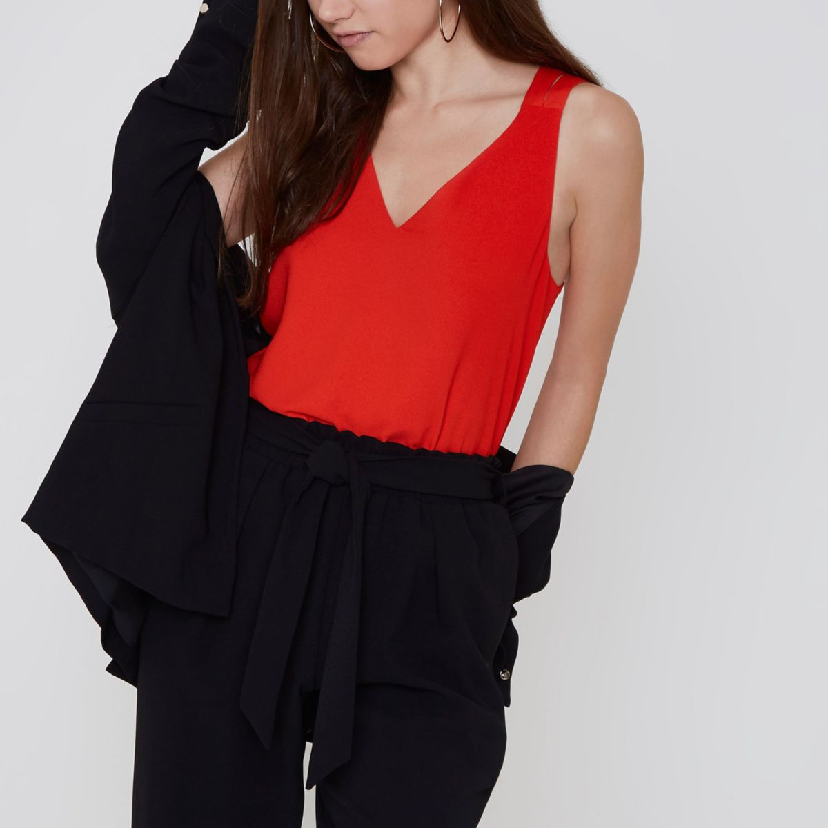 Petite red cross back double strap cami top