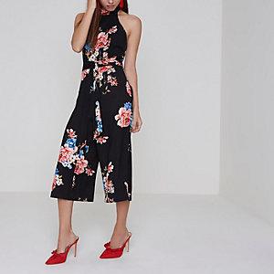 Petite black floral print high neck jumpsuit