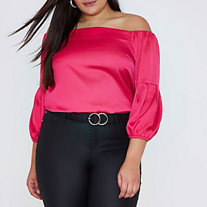 Plus bright pink bardot puff sleeve top