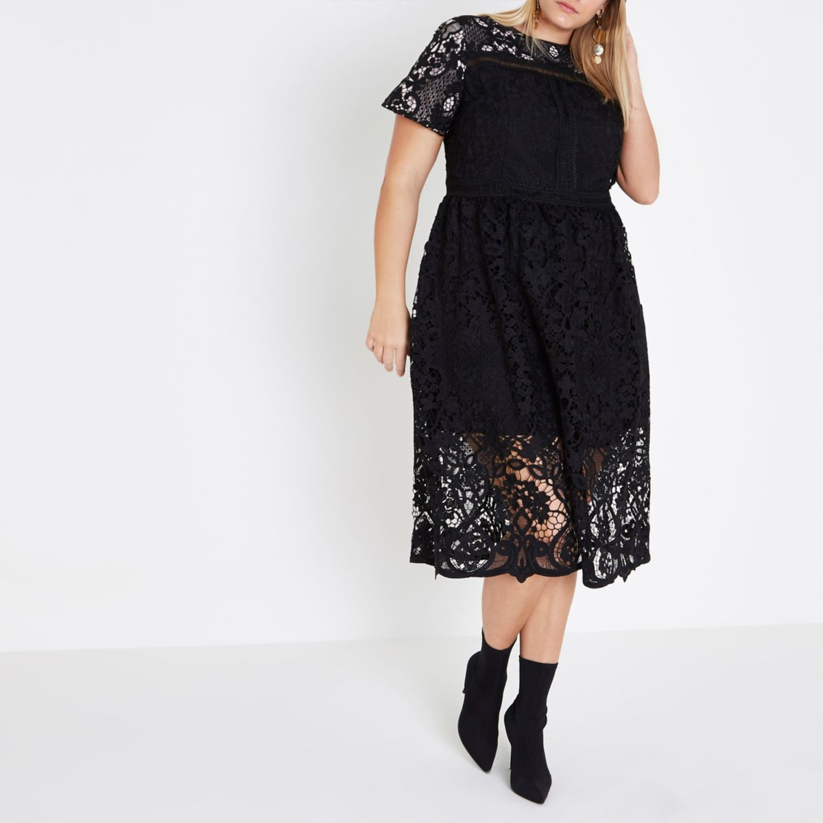Plus black lace trim A line midi dress
