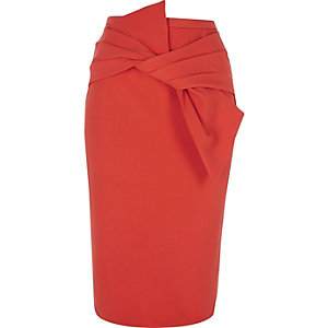 Red bow front pencil skirt