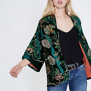 Green velvet floral embroidered kimono