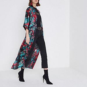 Blauwe maxi-kimono met bloemenprint