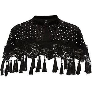 Black pearl embellished tassel velvet cape