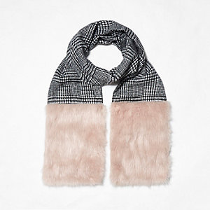 Black check faux fur panel scarf
