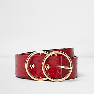 Red croc embossed double ring buckle belt
