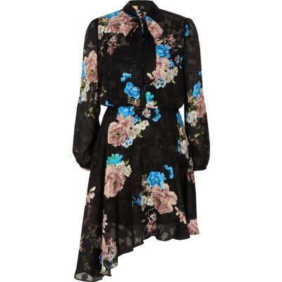 River Island Zwarte kanten jurk met bloemenprint en strik aan de hals