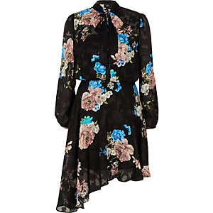 Black sheer lace floral print tie neck dress