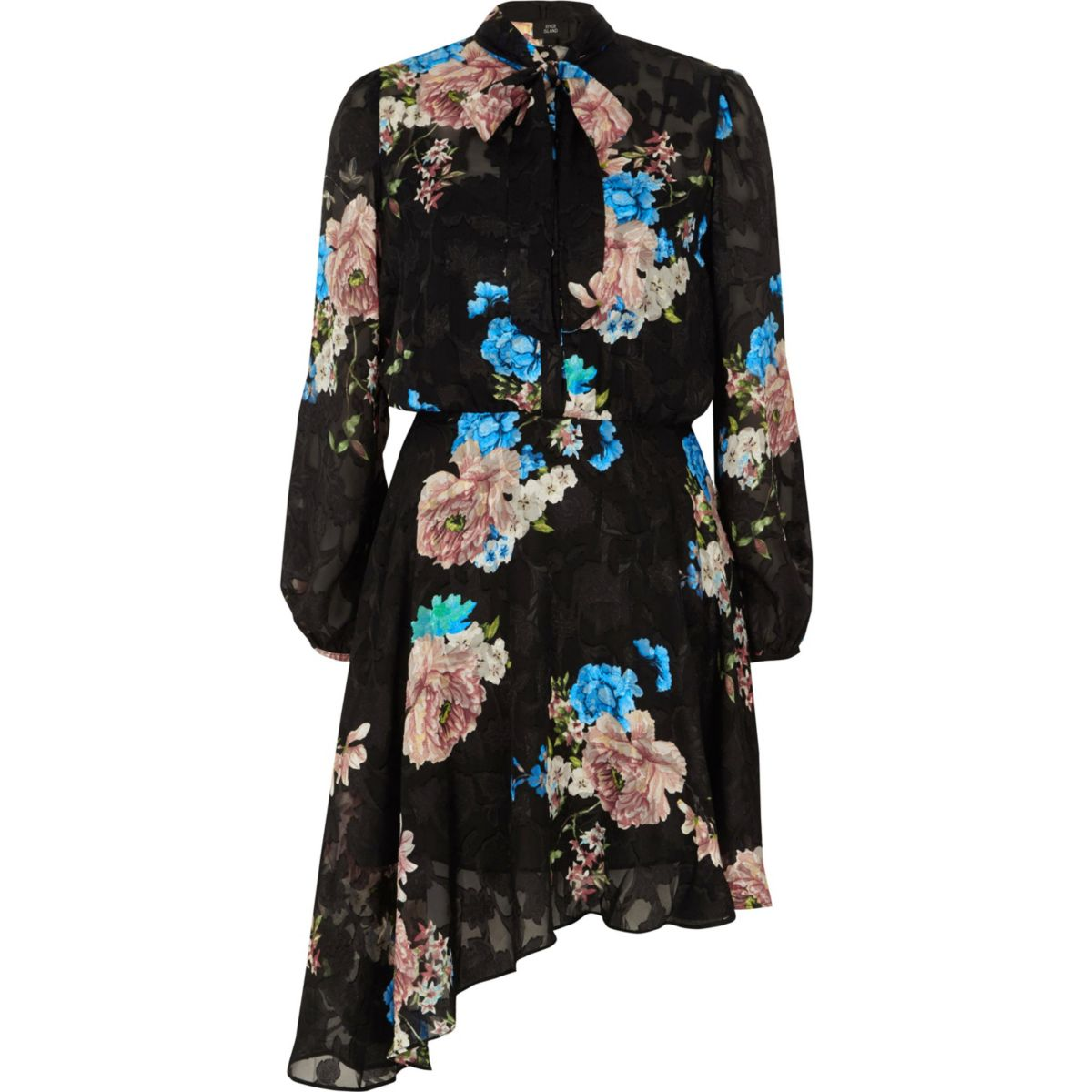 Black lace floral tie neck dress