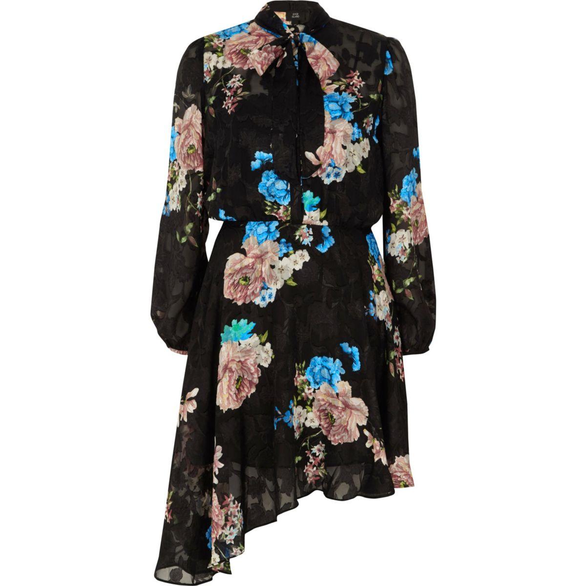 Black sheer lace floral print tie neck dress