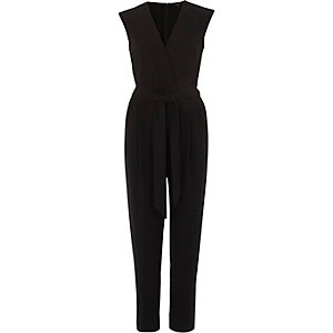 Black sleeveless tailored jumpsuit