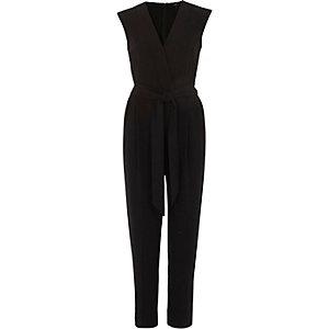 Zwarte mouwloze tailored jumpsuit