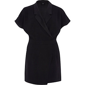 Zwarte blazerplaysuit met korte mouwen