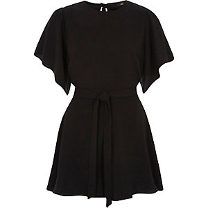 Black short flare sleeve tie waist playsuit