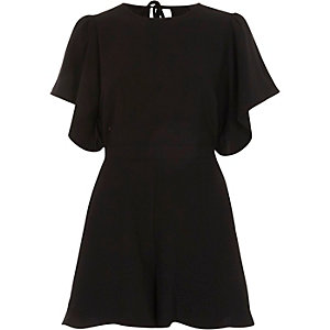 Black frill sleeve playsuit