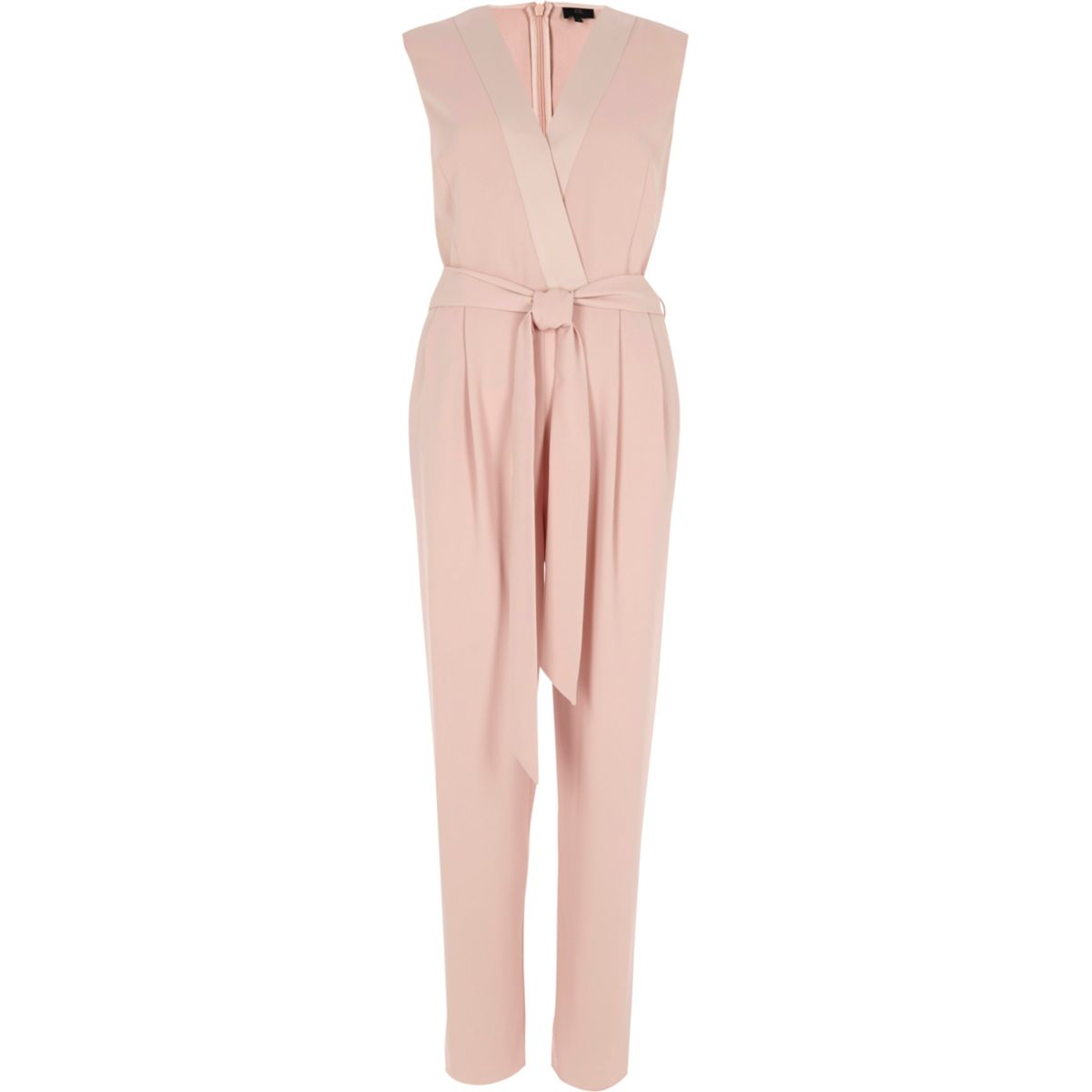 Light pink belted tailored jumpsuit
