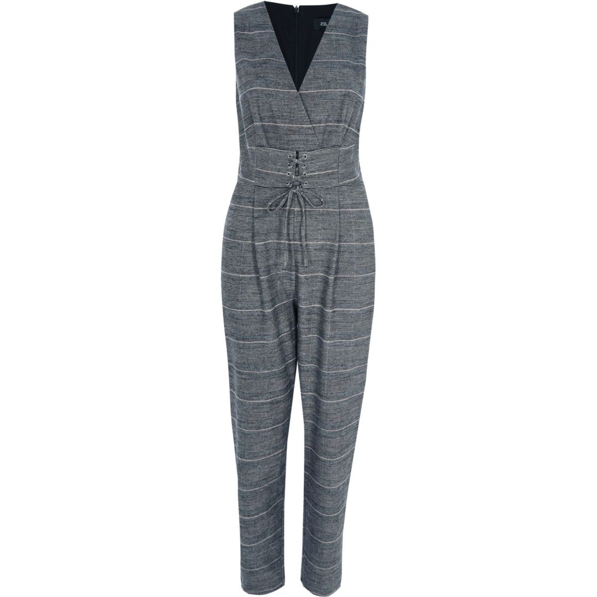 Grey check corset waist belt jumpsuit