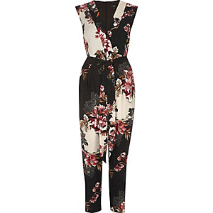 Cream floral print tailored jumpsuit