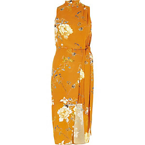 Orange floral tie waist high neck midi dress