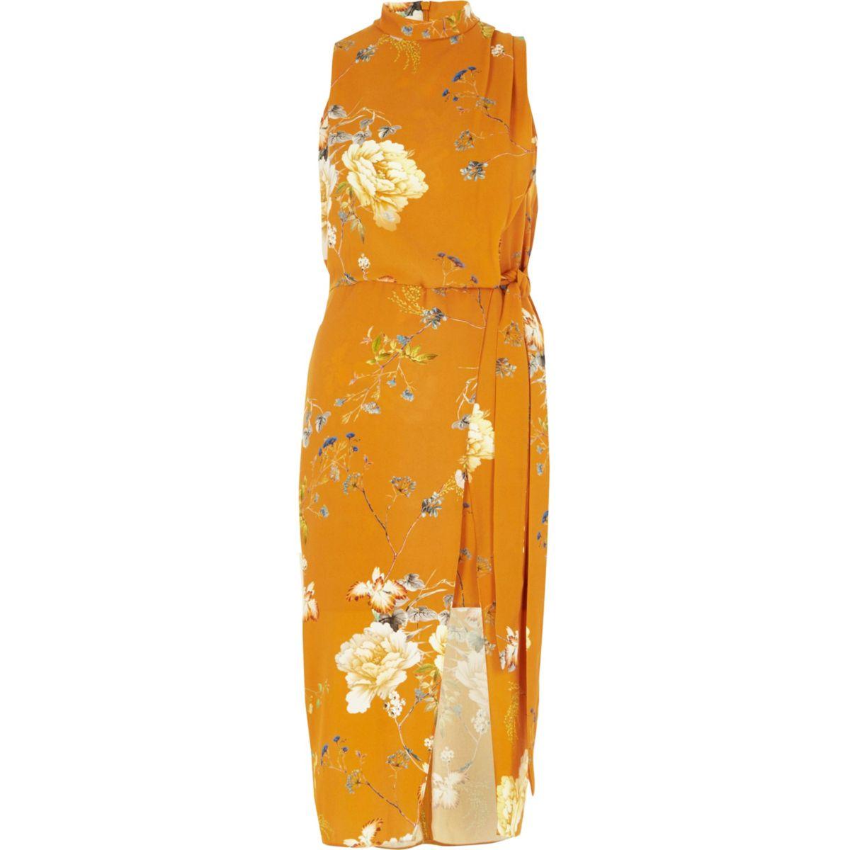 Orange floral tie waist high neck midi dress