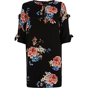 Robe trapèze à fleurs noire avec nœud aux manches