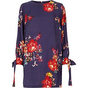 Purple floral tie long sleeve swing dress
