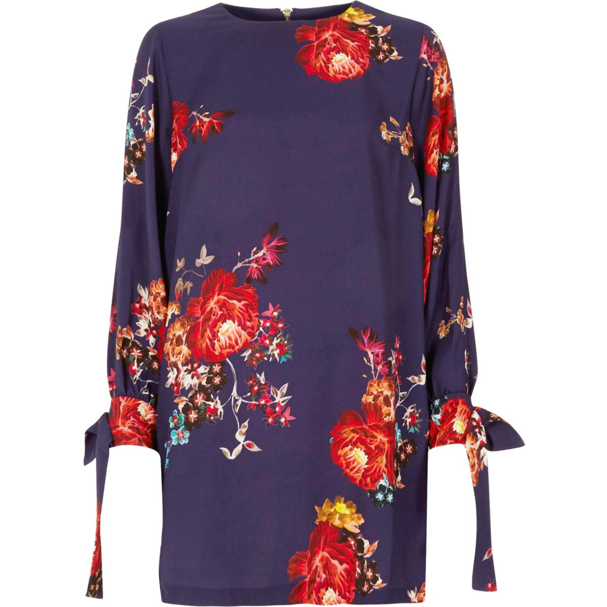 Purple floral tie long sleeve swing dress