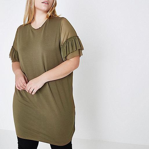Plus khaki green mesh frill oversized T-shirt