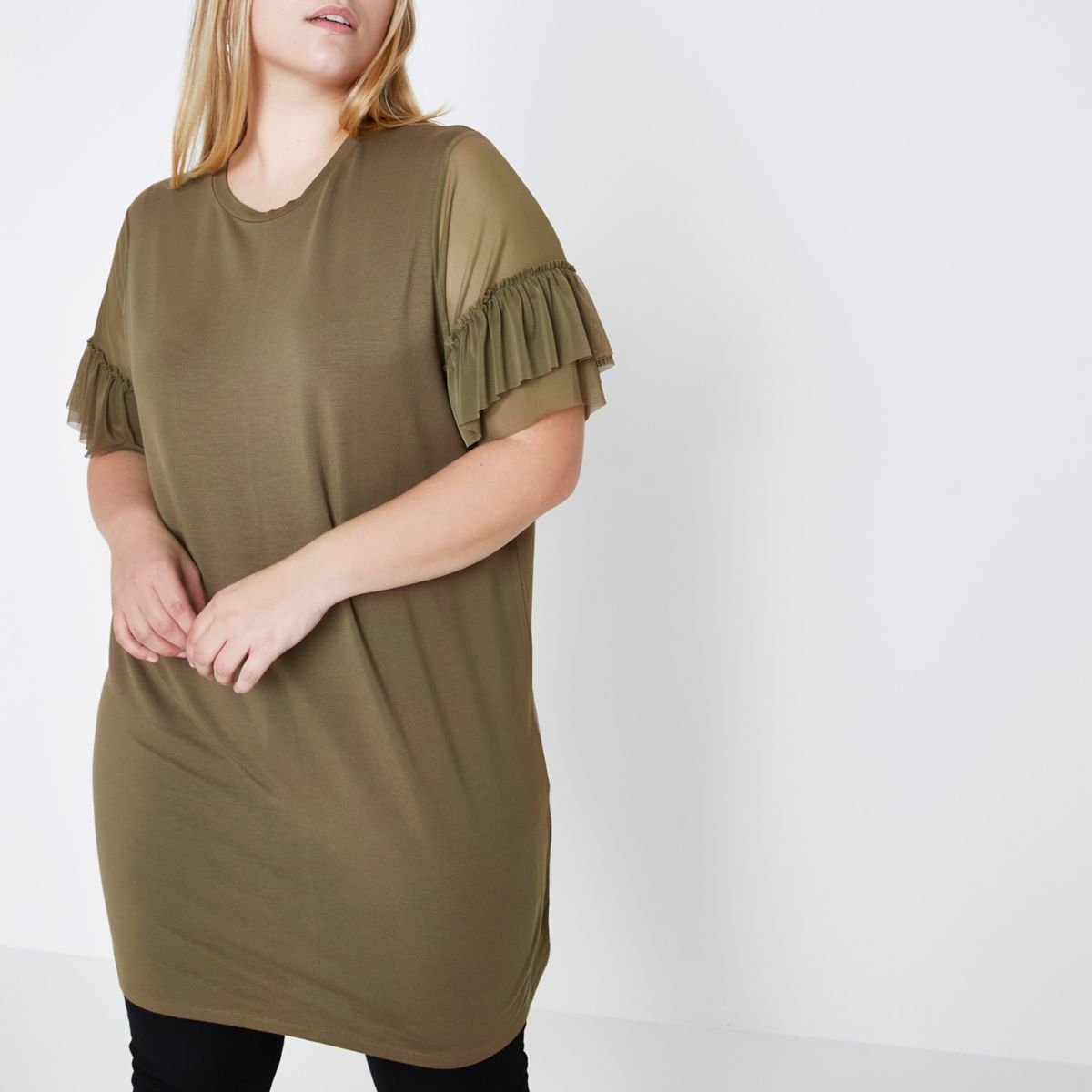 Plus khaki green mesh frill oversized T-shirt