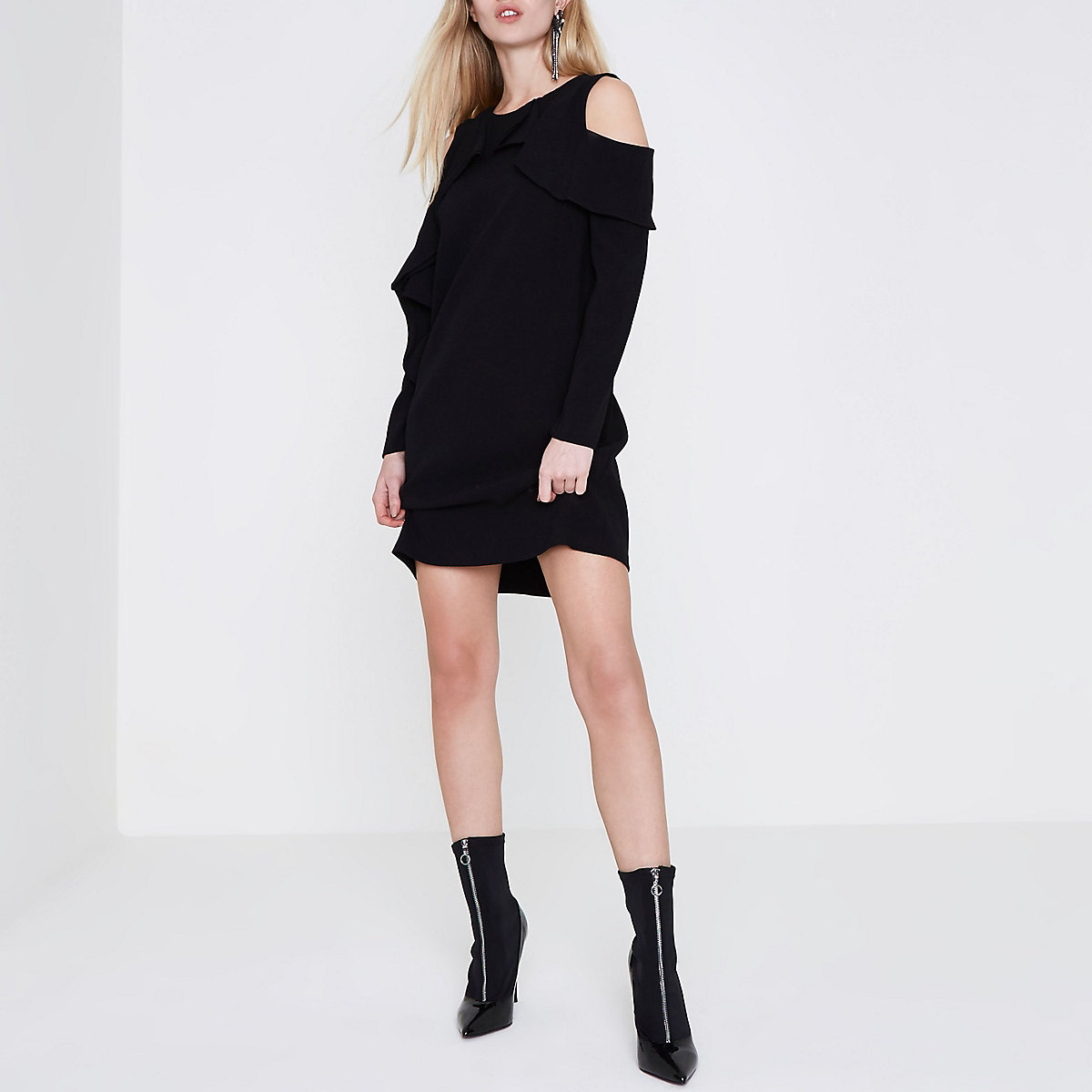 Black cold shoulder frill front swing dress