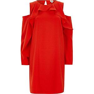 Robe évasée rouge à épaules dénudées et manches bouffantes