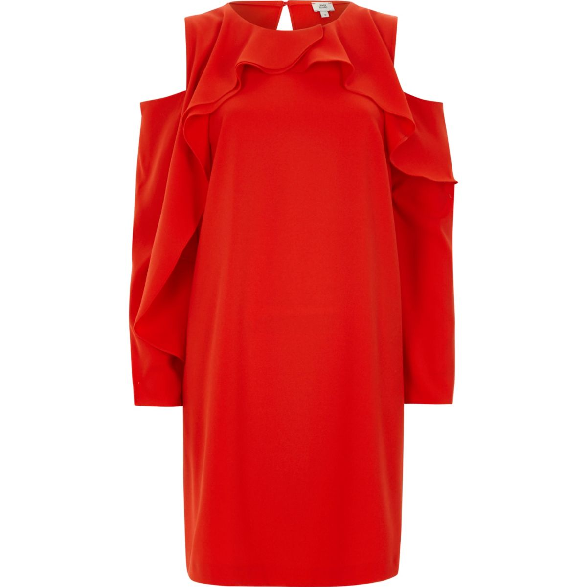 Red cold shoulder puff sleeve swing dress