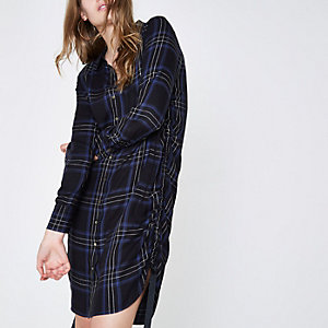 Blue check ruched side shirt dress