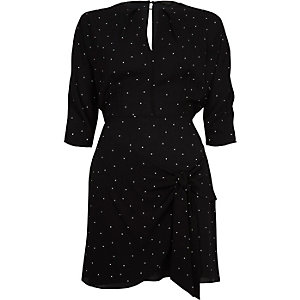 Black polka dot waisted swing dress