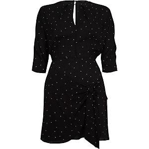 Black polka dot waisted swing dress