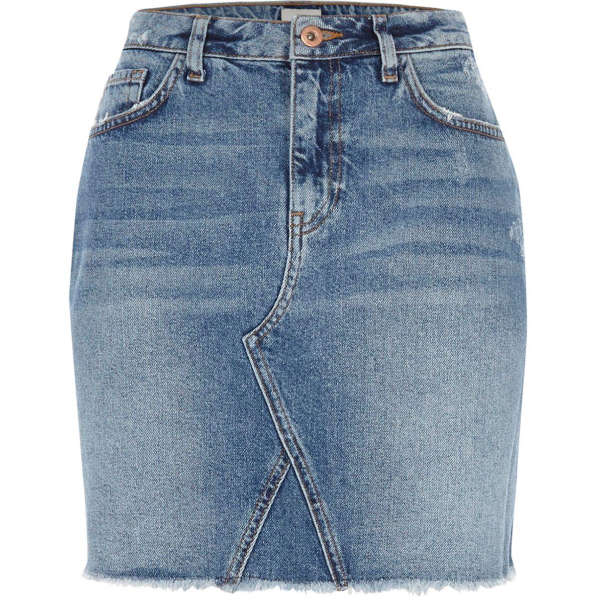 Blue frayed hem denim mini skirt