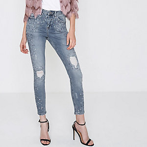 Mid blue studded Alannah relaxed skinny jeans