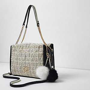 Cream quilted boucle chain underarm tote bag