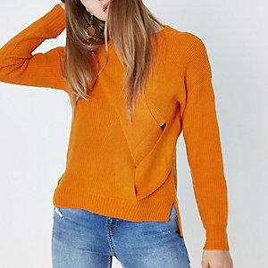 Orange crossover wrap side knit jumper